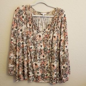 Lucky Brand Floral Bell Sleeve Tunic